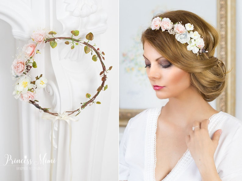 f51480a46a5b4e Braut Blumenkranz Rustik Hochzeit Blumen Haarschmuck Kranz | Etsy