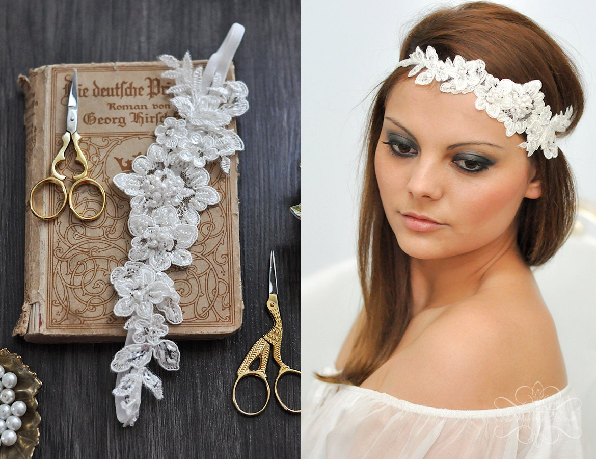 Vintage Headpiece Lace Hairband Headband Beaded With Pearls Etsy