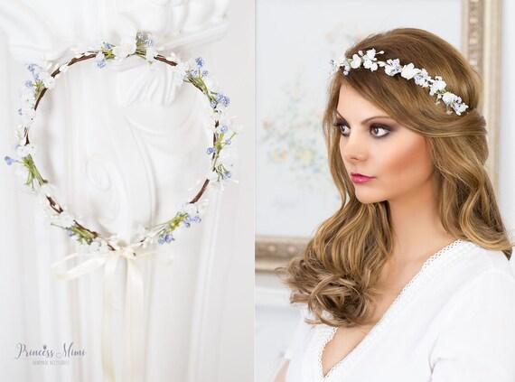 Braut Blumenkranz Hochzeit Blumen Haarschmuck Kranz Haarkranz Etsy