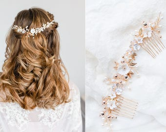 Bridal Vintage Headpiece Freshwater Pearls Haircomb Comb with Pearls & Rhinestones in Ivory, Gold Wired Crystals  Wedding Headpiece