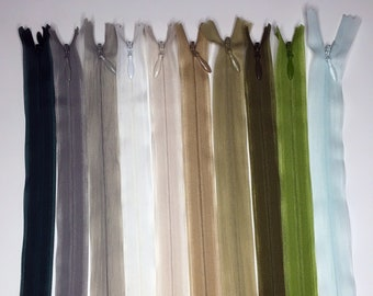 Set of 10 Invisible Zippers 20 cm - Matching Colors - Lot 8