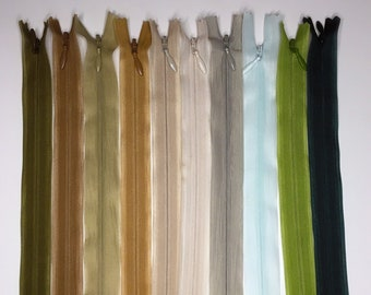 Set of 10 Invisible Zippers 20 cm - Matching Colors - Lot 7
