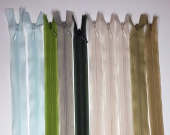 Set of 10 Invisible Zippers 20 cm - Matching Colors - Lot 9