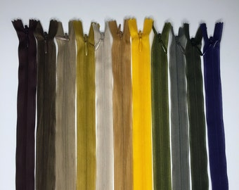Set of 10 Invisible zippers 22 cm - Matching colors - Lot 10