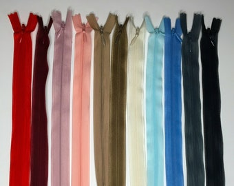 Set of 10 Invisible zippers 22 cm - Matching colors - Lot 11