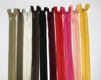 Set of 10 Invisible Zippers 20 cm - Matching Colors - Lot 6