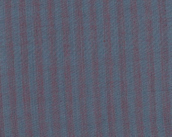 Blue and burgundy striped English fabric