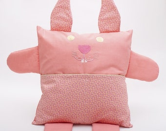 Bunny embroidered in coral pink organic fabric pillow