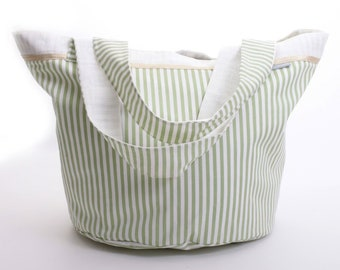 Round light green and white striped bag