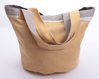 Round bag with PuTTY and mustard stripes