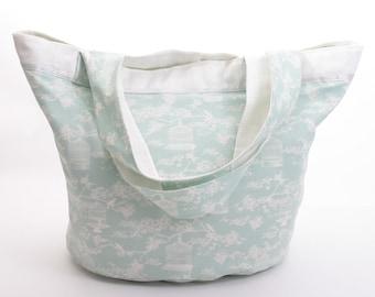 Fabric round bag English bird cage green water