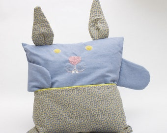 Bunny embroidered organic cotton blue jean pillow
