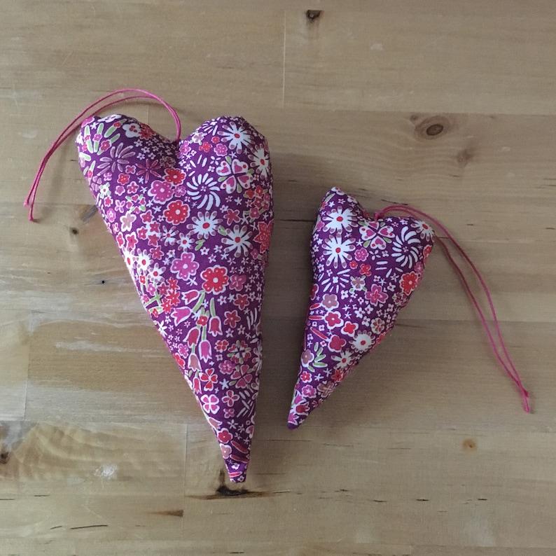 Duo of decorative hearts in pink Liberty Kayoko fabric image 0