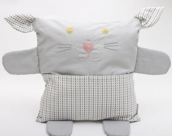 Pillow embroidered in grey organic fabric