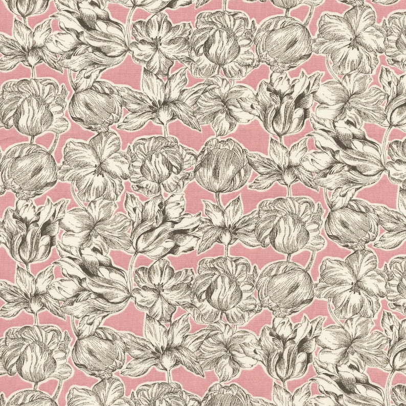 Liberty of London grey and Pink Tulip Matilda fabric coupon image 0