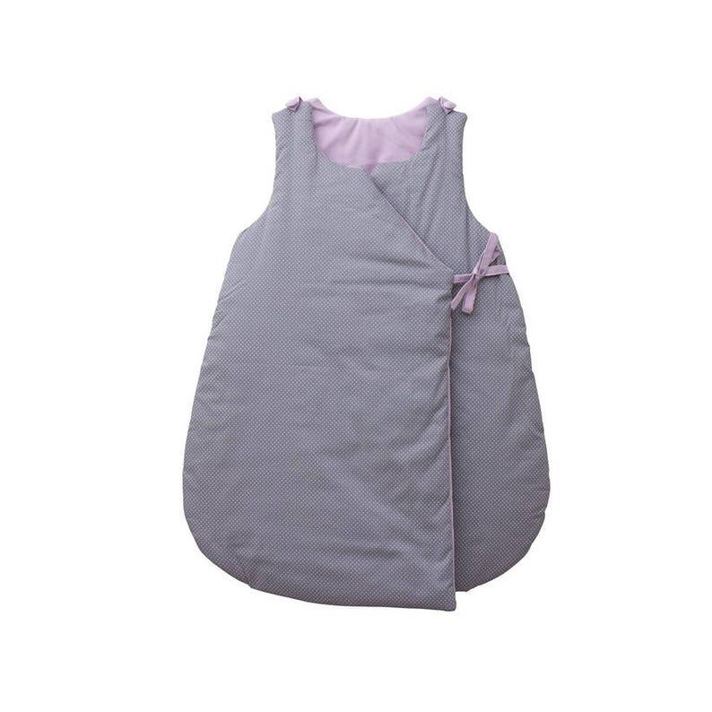 Sleeping bag  Grey cotton printed with white mini polka dots image 0