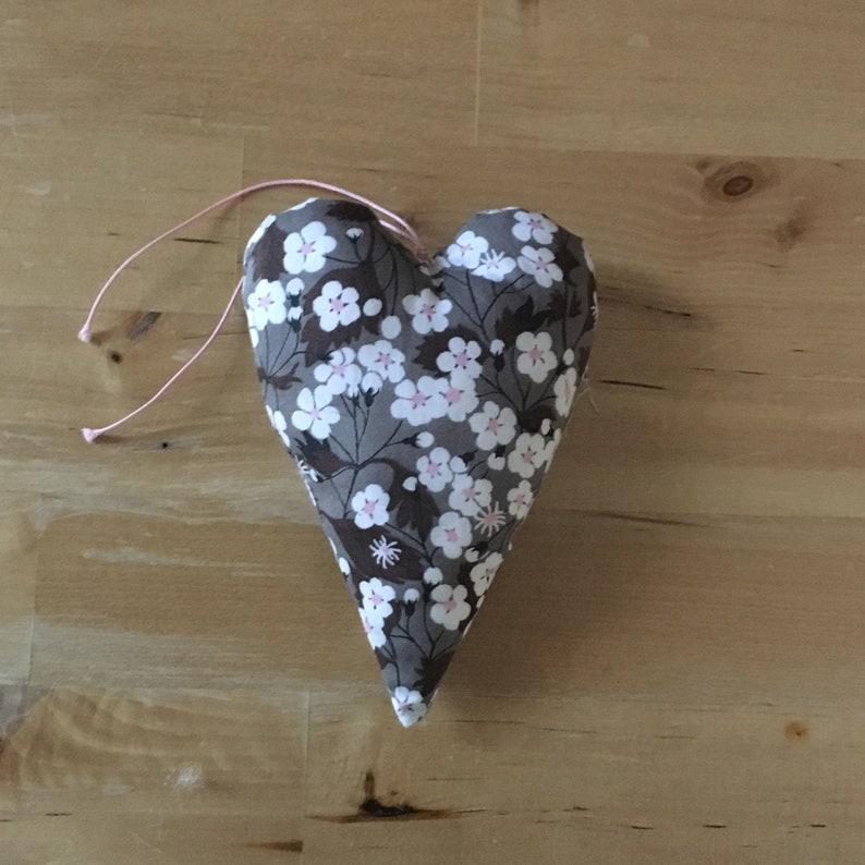 Decorative heart in Liberty Mitsi chocolate fabric image 0