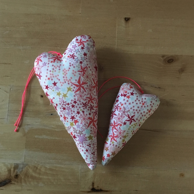 Duo of decorative hearts made from Liberty Adelajda coral image 0
