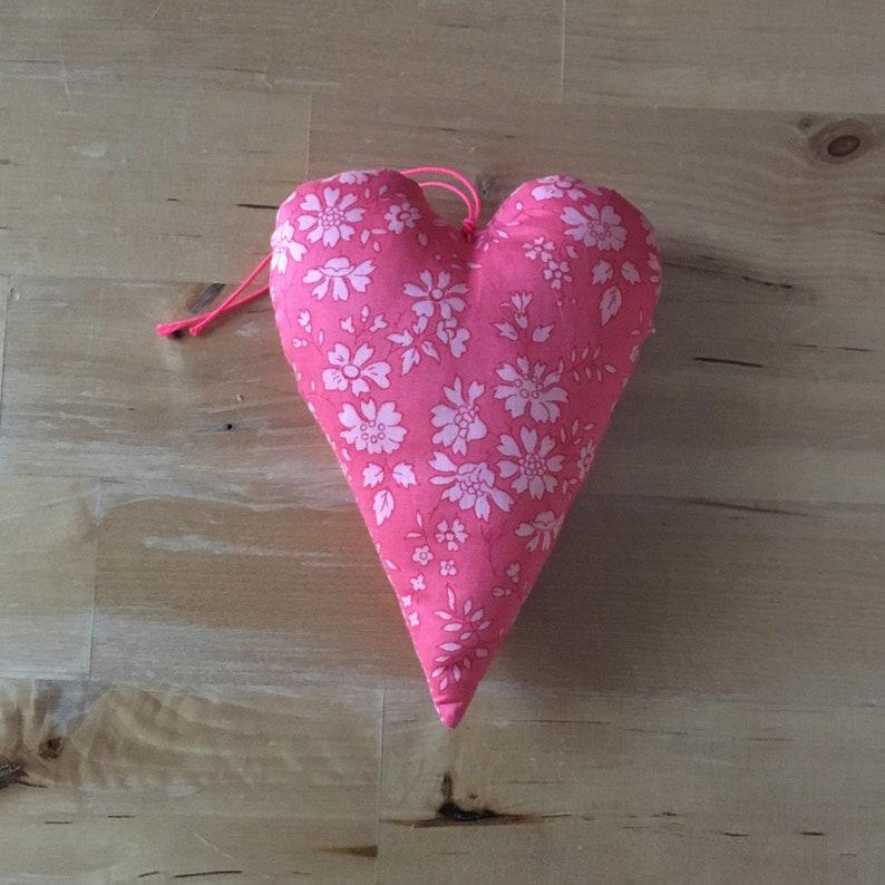 Decorative heart in Liberty Capel coral fabric image 0