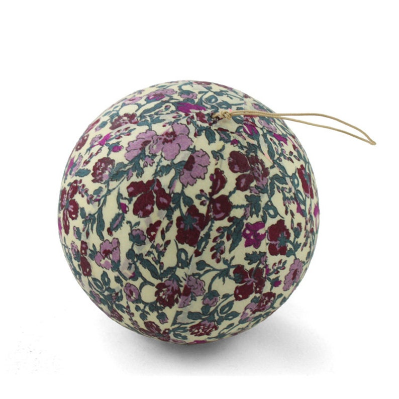 Liberty Meadow plum fabric Christmas ball image 0