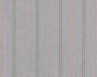 Grey cotton fabric with thin red and brown stripe