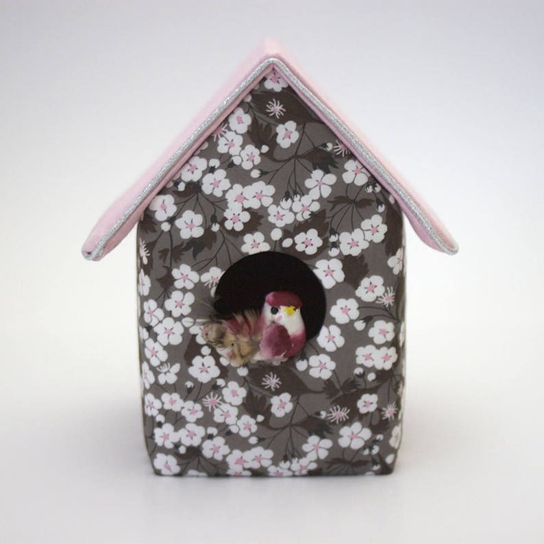 Decorative birdhouse in Liberty Mitsi taupe image 0
