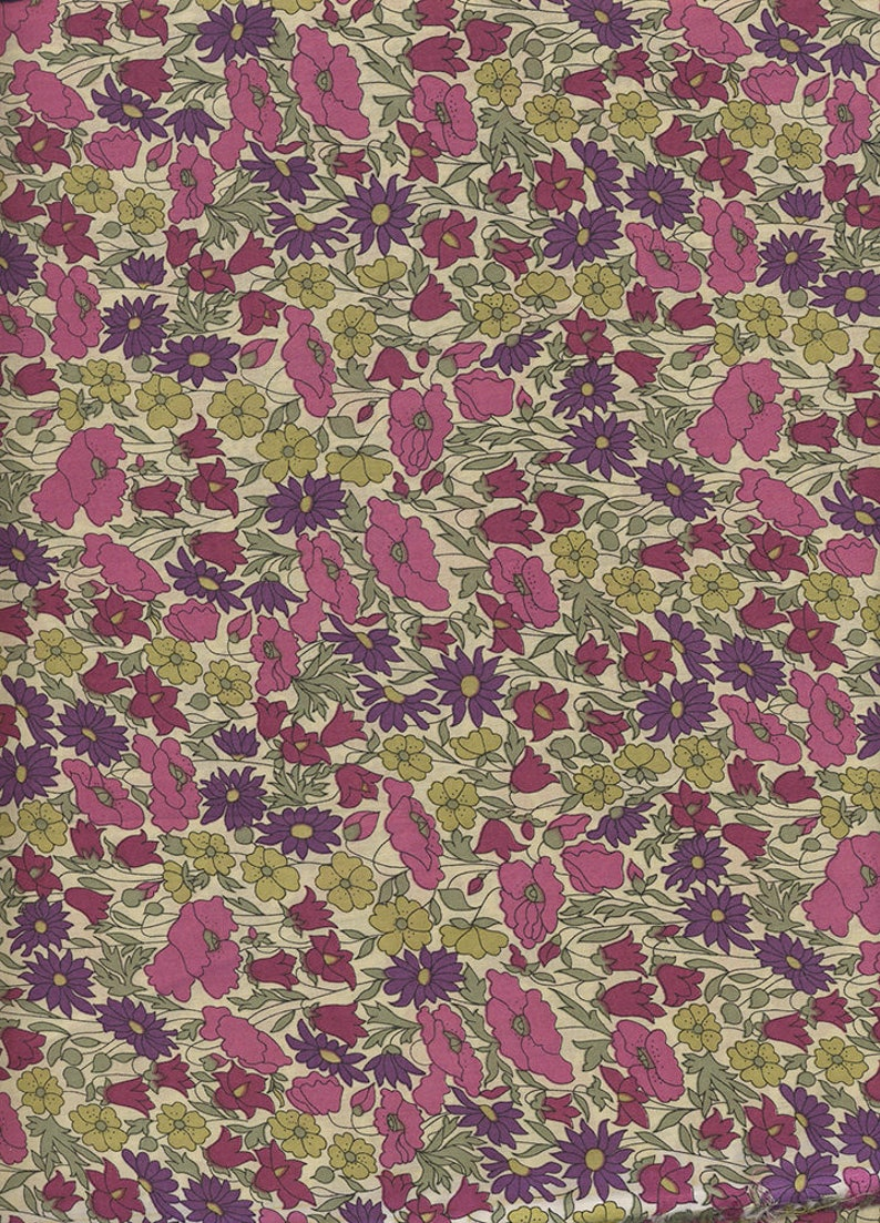 Liberty of London Poppy and Daisy plum fabric image 0
