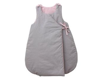Sleeping bag - Cotton printed grey mini star with rose quartz