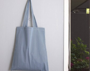 Bag tote bag in ecru and blue striped cotton and linen