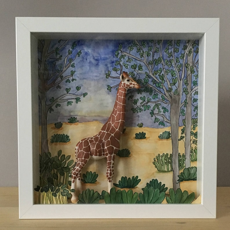 Diorama frame with original hand-painted and miniature image 0