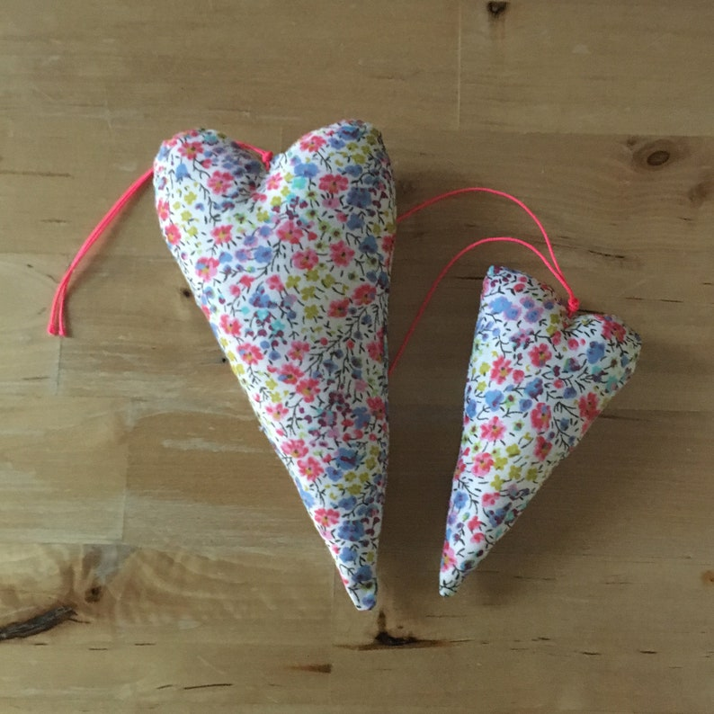 Duo of decorative hearts made from Liberty coral fabric image 0