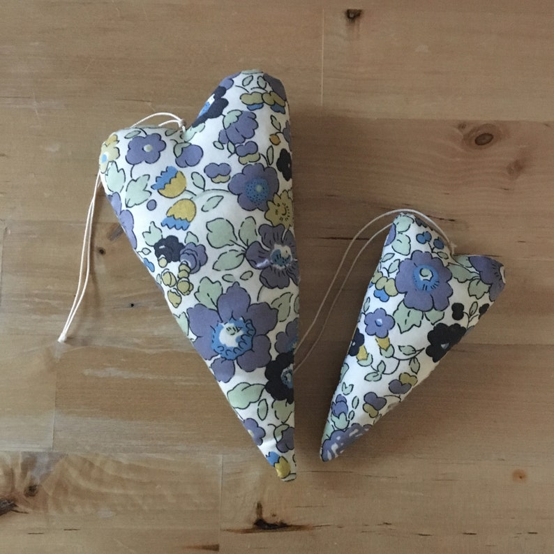 Duo of decorative hearts made from Liberty Betsy verbena image 0