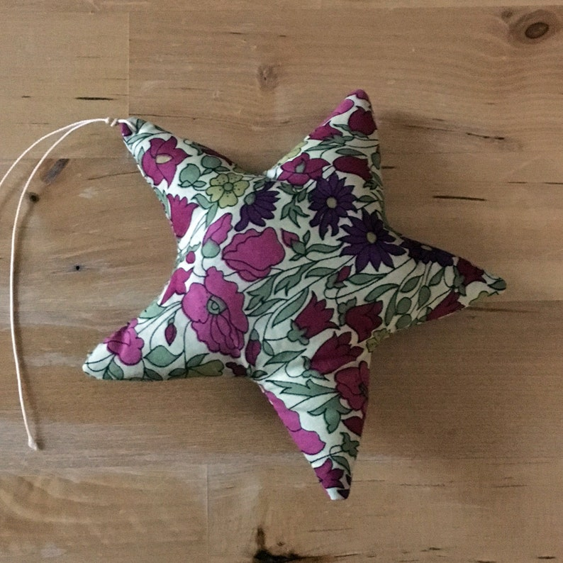 Decorative star in Liberty Poppy and Daisy plum image 0