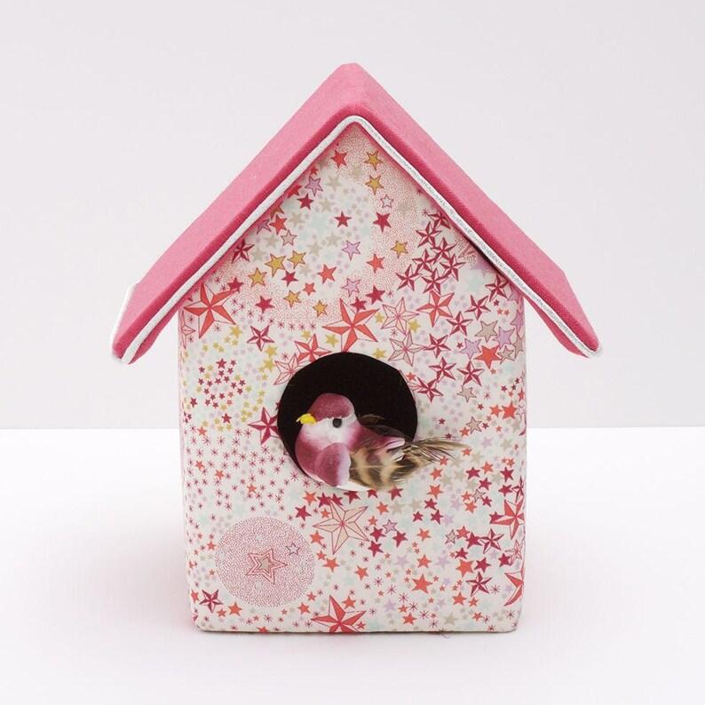 Decorative birdhouse in Liberty Adelajda coral image 0