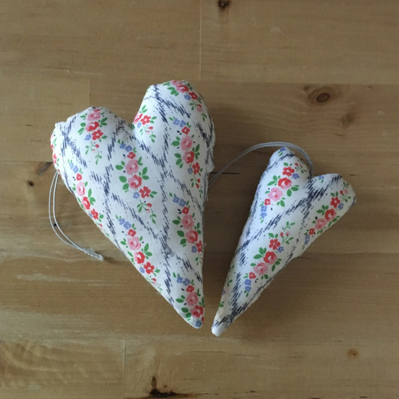 Duo of decorative hearts made from Liberty Mae larellis fabric image 0
