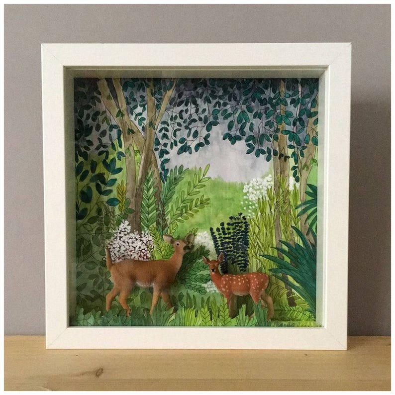 Diorama frame with original hand-painted décor and miniatures image 0