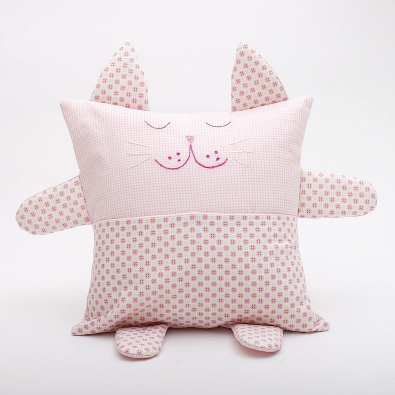 Pink cat embroidered fabric cushion image 0