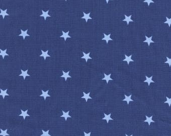 Blue Denim cotton fabric blue sky with stars print
