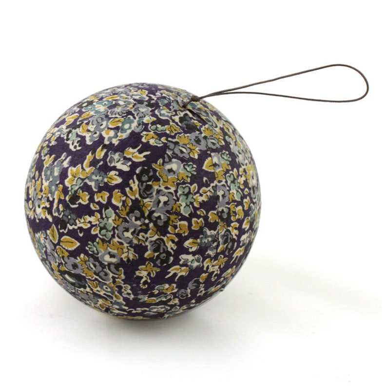 Liberty Tatum plum fabric Christmas ball image 0