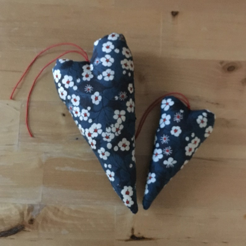 Duo of decorative hearts in blue Liberty Mitsi fabric image 0