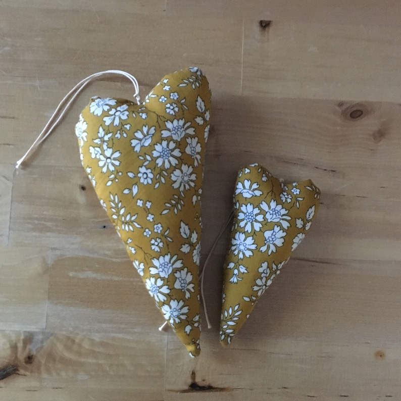 Duo of decorative hearts made from Liberty Capel mustard image 0