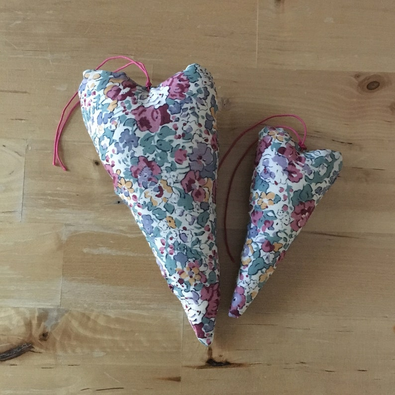 Duo of decorative hearts made from Liberty Tatum fig fabric image 0
