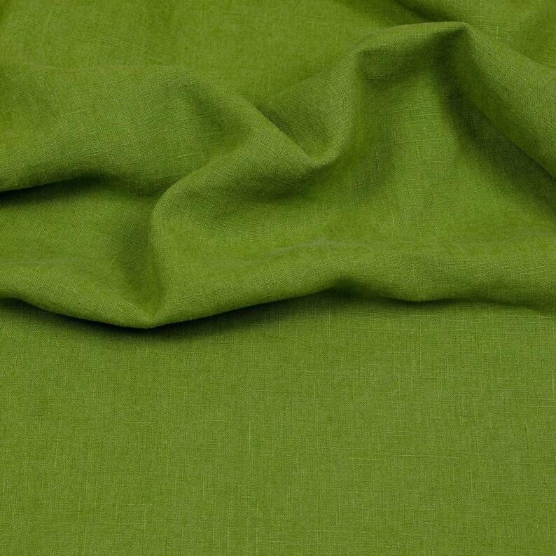 Linen fabric hilco 10 cm x 140 cm each green image 0