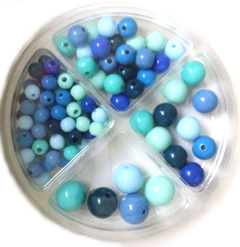 RICO Plastic Bead Set 97-piece Aqua Mix image 0