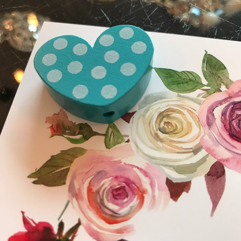 Heart turquoise with dots wooden bead image 0
