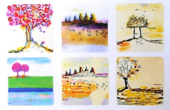 Mini Trees 1 - Fine Art Stickers