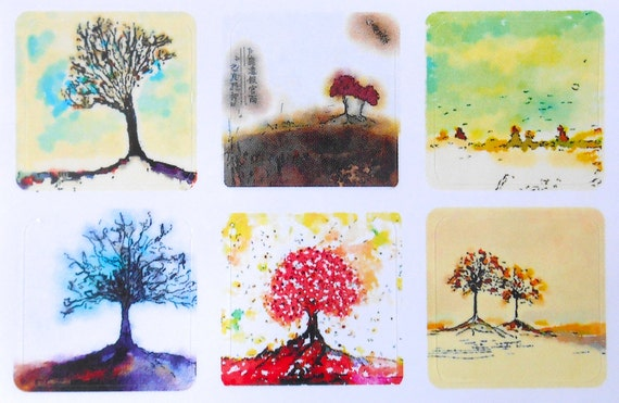 Mini Trees 3 - Fine Art Stickers