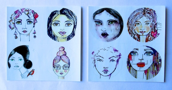 ROUND Fine Art Stickers - A few of my favorite Girls 1