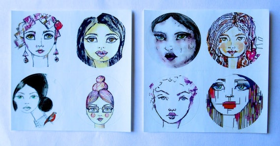 NEW *** ROUND Fine Art Stickers - A few of my favorite Girls 1