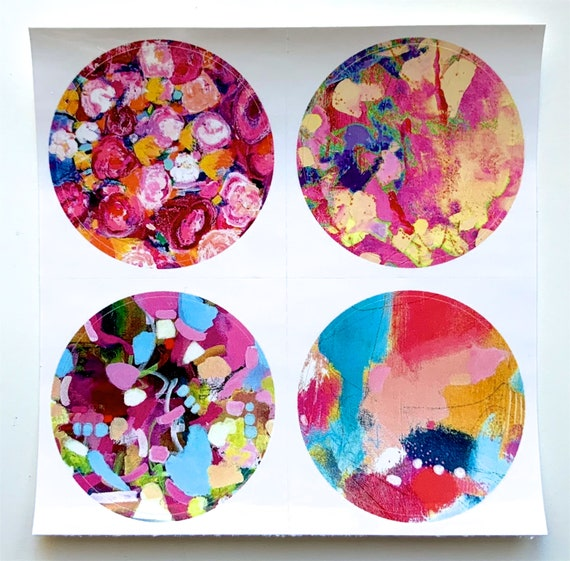 ROUND Fine Art Stickers - Color Pops - Add color to your Travelers Notebooks, journals, planners, art journals or anywhere!